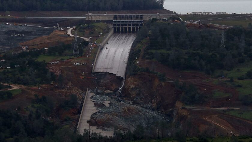 OROVILLE, CA - APRIL 11: A view of of the heavily damaged spillway at Lake Oroville on April 11, 20