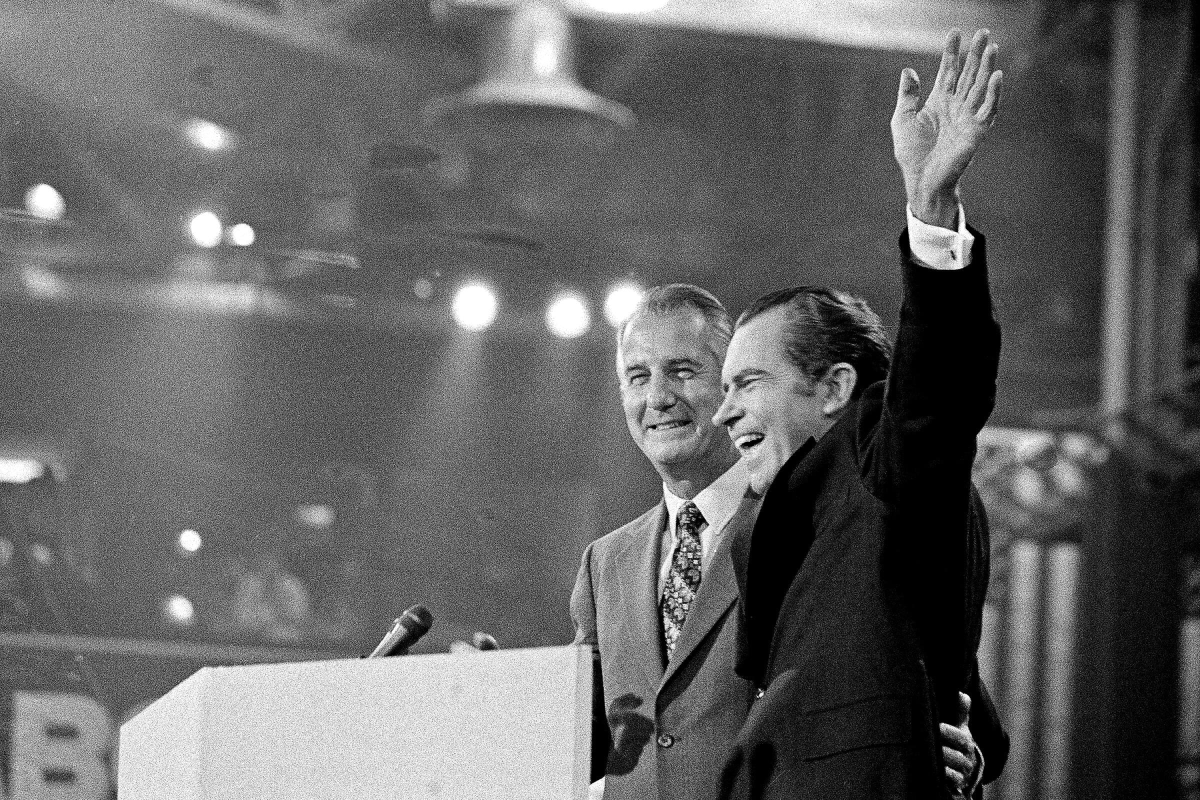 Richard Nixon, right, with running mate Spiro Agnew in 1972.