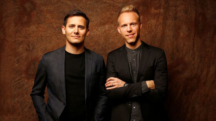 BURBANK, CA – OCTOBER 25, 2017: Songwriters Benj Pasek, left, and Justin Paul, collectively known