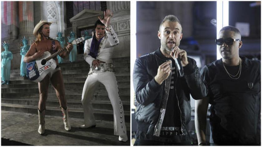 At left, Robert John Burck, better known as the Naked Cowboy, and Elvis impersonator Jay Allan perform outside the New York Public Library before the Philipp Plein show on Monday. At right, the designer, (left) speaks to show guests with rapper Nas at his side.