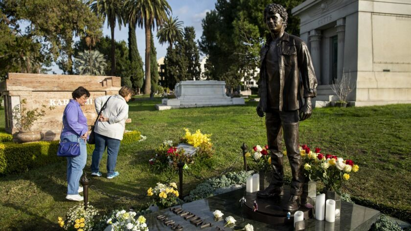"""HOLLYWOOD, CA-JANUARY 18, 2019: A statue of Anton Yelchin, the 27 year old """"Star Trek"""" actor who was"""