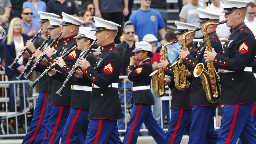 The Marine Band performs during a past Veterans Day Parade along Harbor Drive in San Diego. Veterans Day events are slated throughout North County.(K.C. Alfred / U-T San Diego)