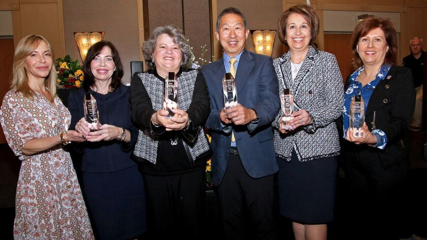 Awardees at this year's State of the City address. From the left: Kimberly Moss and Pamela Spiszman of Pegasus Home Health Care, Betty Porto of Porto's Bakery & Cafe, David Ho of Pacific BMW, Alice Issai of Adventist and Margie Barnes of Glendale Assn. of Realtors.