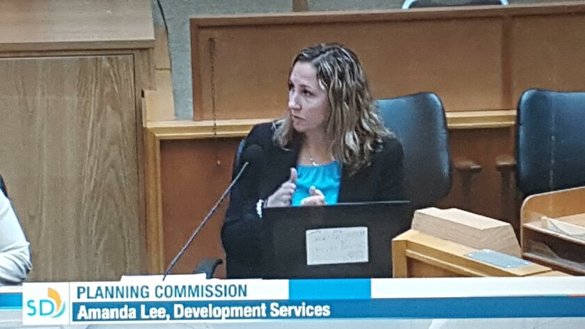 Amanda Lee argues for the city's proposed changes to its Land Development Code.