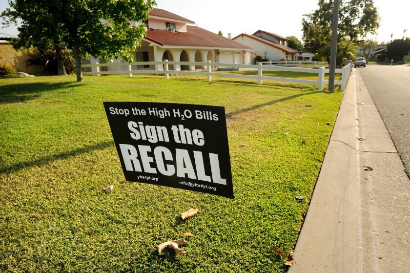 Recall sign in Yorba Linda