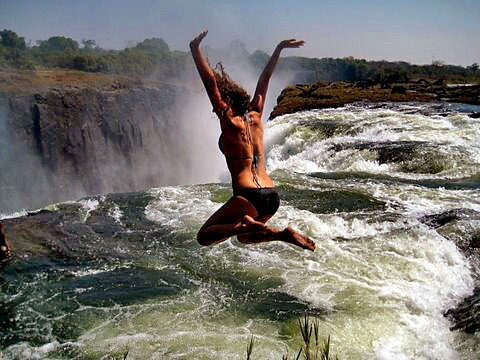 With one leap, Victoria Falls, on the border of Zambia and Zimbabwe, can somehow manage to get more interesting, if that is possible for something that is already a UNESCO World Heritage site and has been been dubbed one of the Seven Natural Wonders of the World by one website.