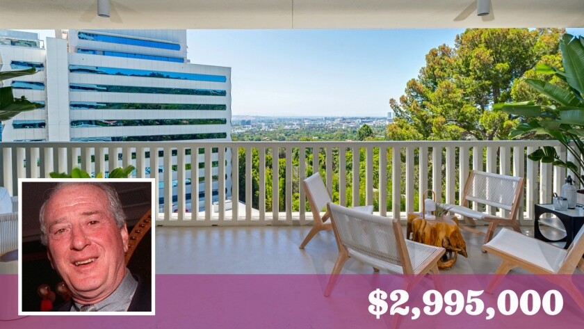 A Sierra Towers residence once owned by rock 'n' roll lyricist Jerry Leiber has listed for more than double what it sold for in 2014.