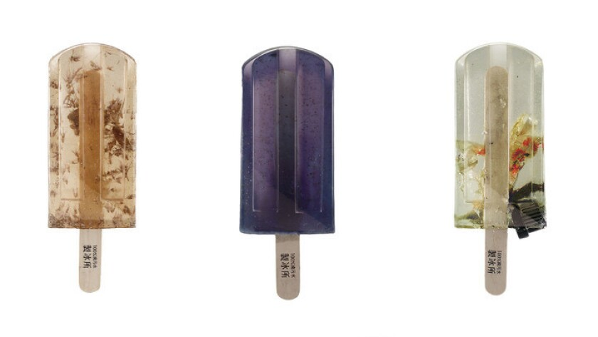 Popsicles, left to right, from the Danshui River near Taipei, a creek in northern Taiwan and a creek