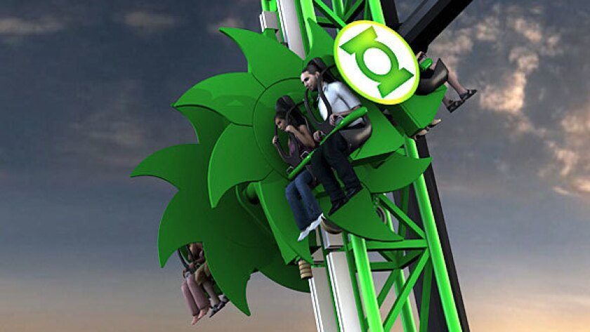 Concept art of the Green Lantern vertical coaster at Six Flags Magic Mountain.