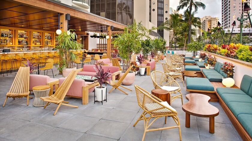 Retro meets modern touches on the lanai at The Laylow.