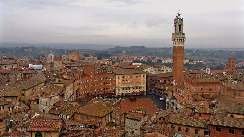 SIENA, ITALY, 2009: A wintertime bird's eye view of Siena's famous Campo and Palazzo Pubblico, with