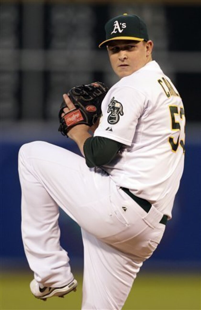 Oakland Athletics' Trevor Cahill works against the Chicago White Sox during the first inning of a baseball game Tuesday, Sept. 21, 2010, in Oakland, Calif. (AP Photo/Ben Margot)
