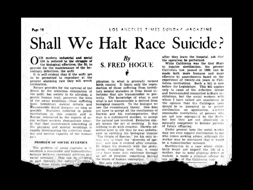 """S. Fred Hogue's """"Shall We Halt Race Suicide"""" ran in The Times on April 21, 1935."""