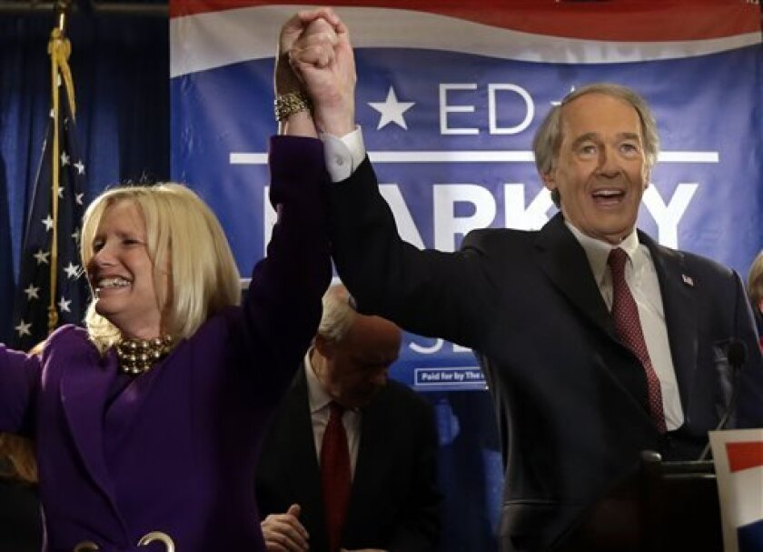 U.S. Senate candidate Ed Markey reacts with his wife, Susan Blumenthal, in Boston, Tuesday, April 30, 2013 as he celebrates winning the Democratic primary for the special U.S. Senate election. (AP Photo/Elise Amendola)