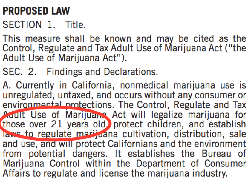 Proposition 64 applies only to adults 21 and older.