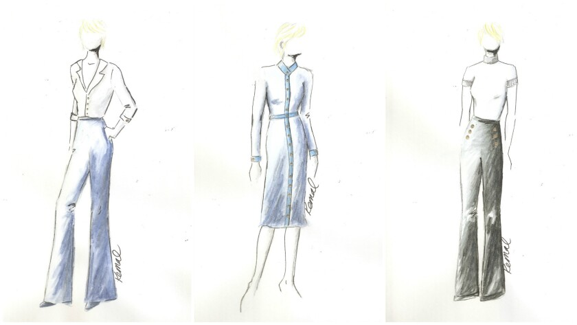 "Sketches of Claire Underwood's costumes in ""House of Cards"" season 5."