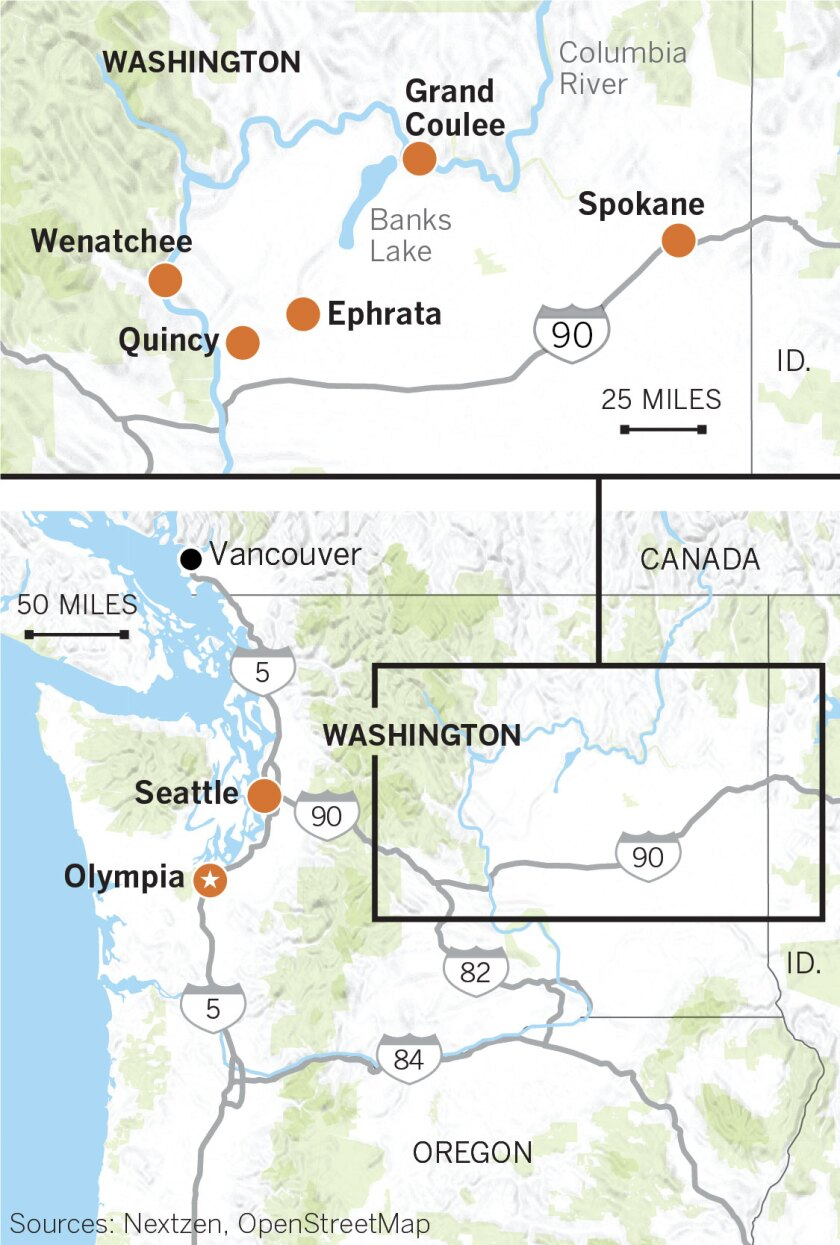 Map of eastern Washington showing Spokane, Ephrata, Quincy, Grand Coulee, Wenatchee, Seattle and Olympia.