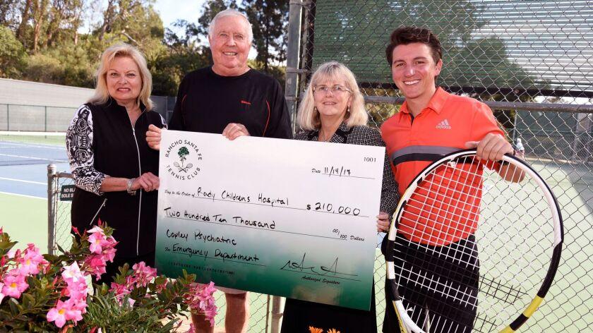 It's a 'smash hit' as the Rancho Santa Fe Tennis Club presents a check Rady Children's Hospi