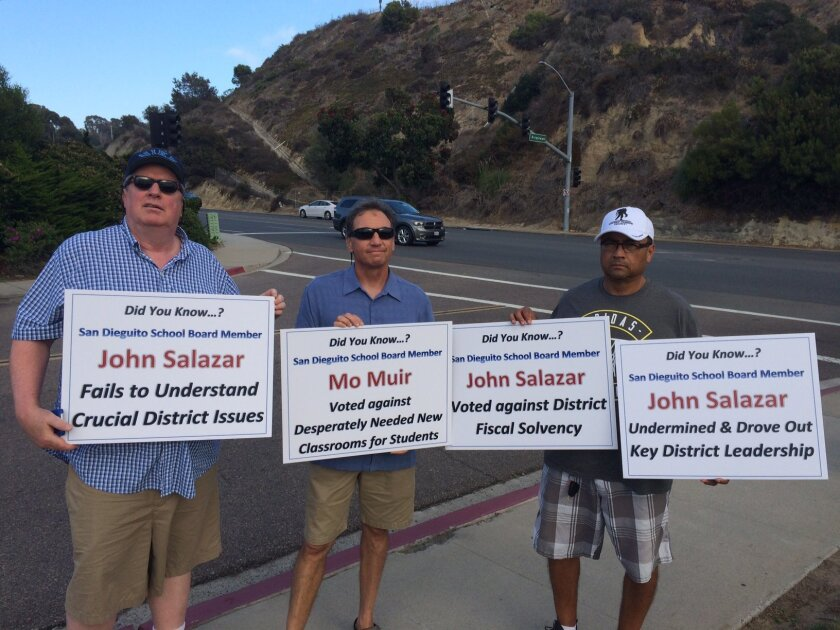 Protesters at the San Dieguito Union School District last week.