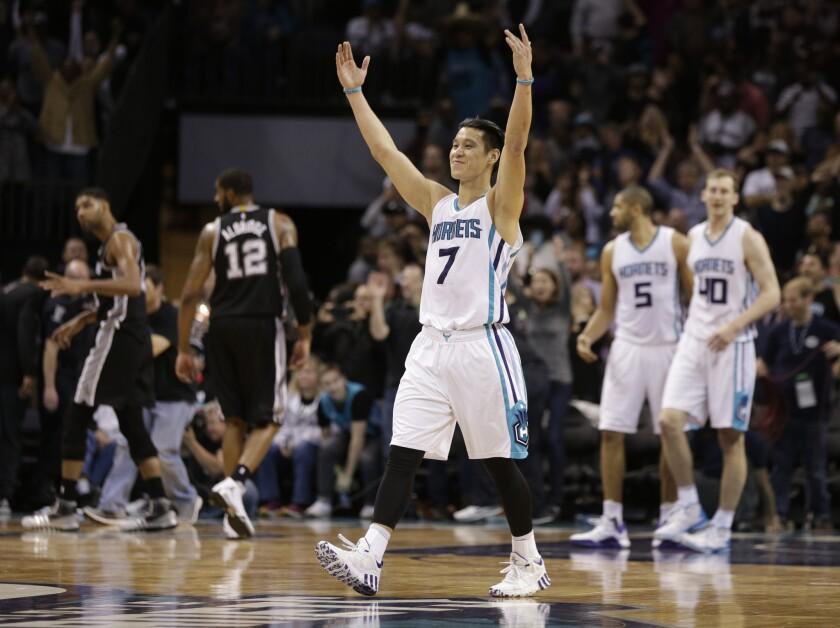 Jeremy Lin leads way as Charlotte Hornets rally to stun San Antonio Spurs