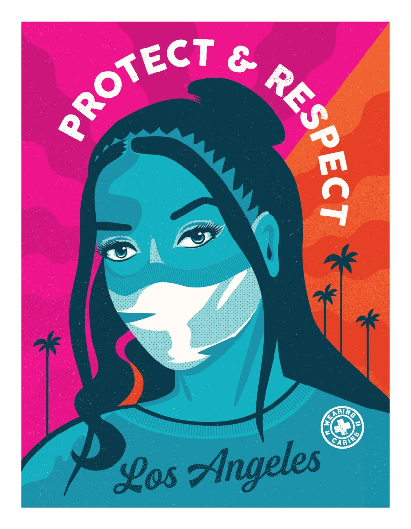 Mayor Garcetti revealed this poster, designed by Camila Lonis of Shepard Fairey's Studio Number One, on Wednesday.