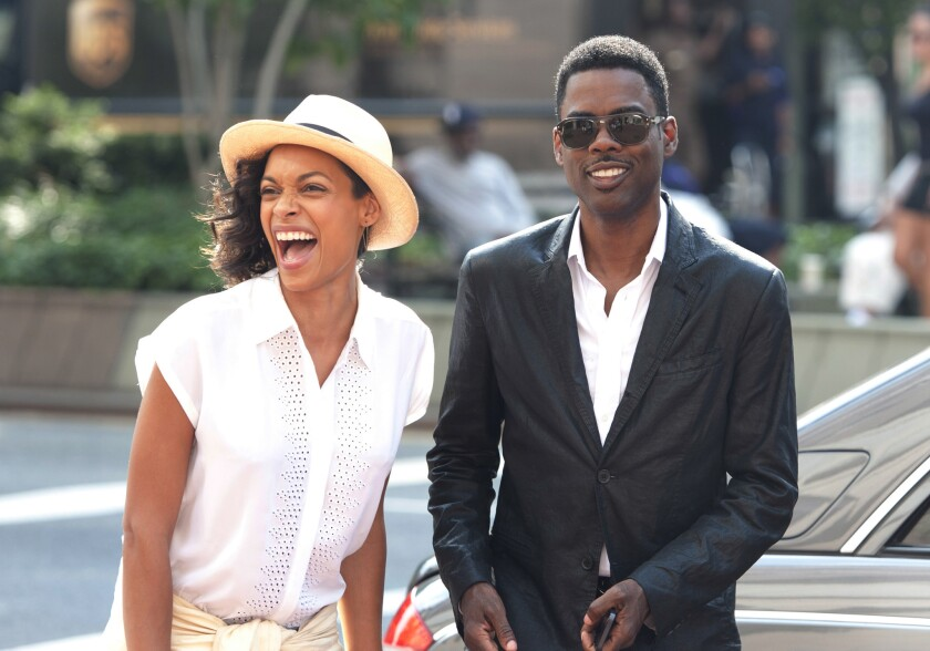 """Rosario Dawson and Chris Rock in a moment from the film """"Top Five."""" The film has its world premiere as part of the 2014 Toronto International Film Festival"""