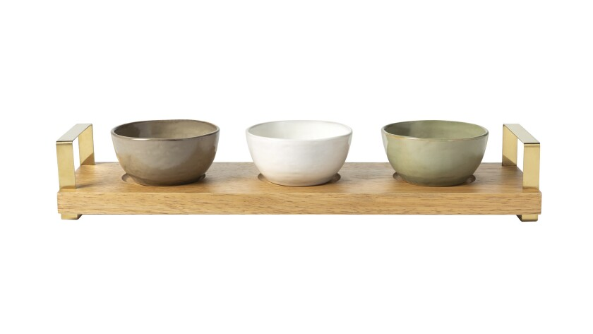 Chrissy Tiegen new Target collection 2018 - 4-piece tidbit bowls with wood tray, $24.99 by Cravings