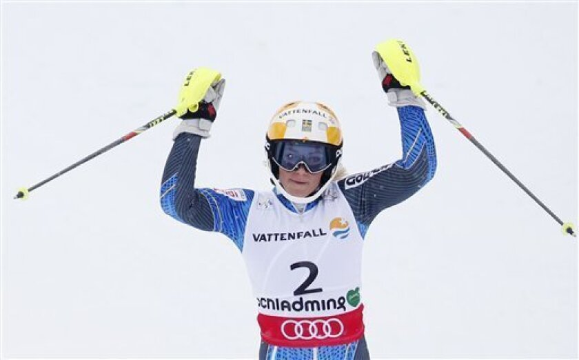 Sweden's Frida Hansdotter reacts after the first run of the women's slalom at the Alpine skiing world championships in Schladming, Austria, Saturday, Feb.16,2013. (AP Photo/Matthias Schrader)