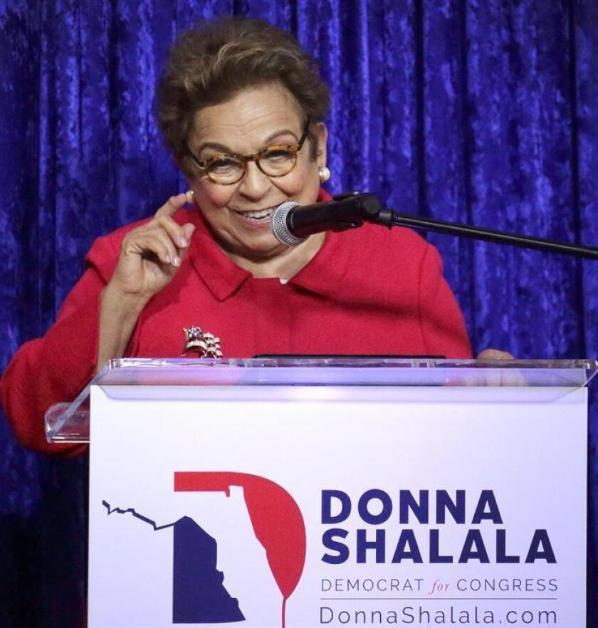 Donna Edna Shalala speaks during her congressional campaign at Coral Gables Woman's Club in Miami, Florida, USA, 24 October 2018. EPA-EFE/FILE/CRISTOBAL HERRERA