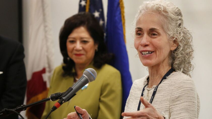 Barbara Ferrer, the recently appointed head of the L.A. County Department of Public Health, speaks at a news conference about reducing unintended pregnancy rates among youth in Los Angeles.