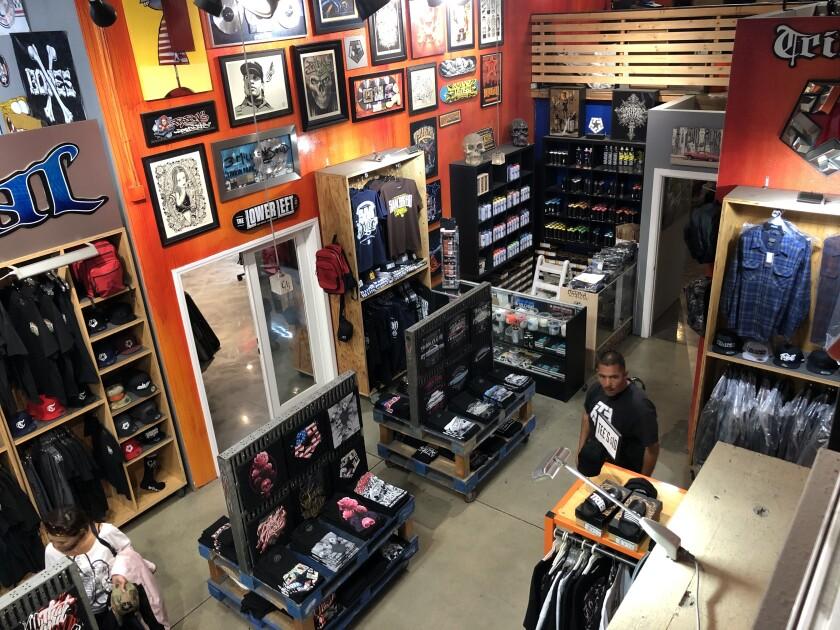 Inside a Tribal Streetwear shop.