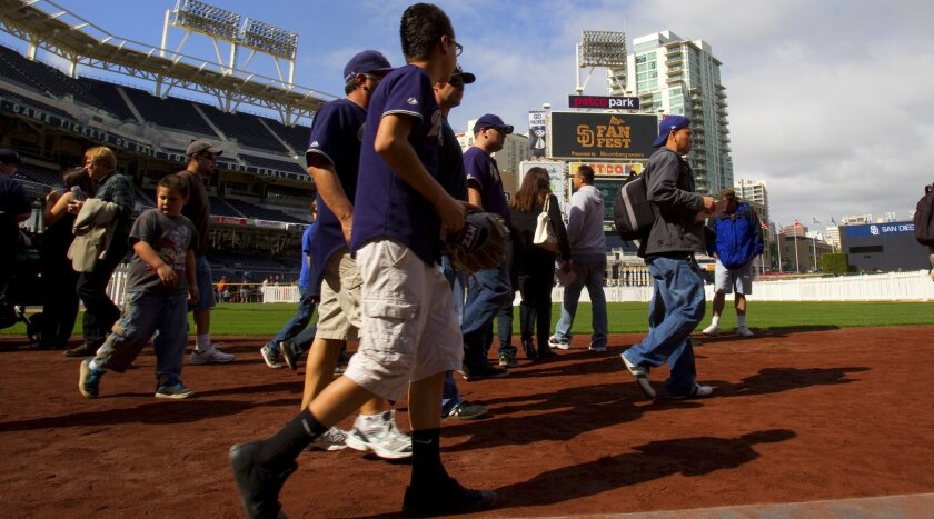 Padres fans enjoyed being on the playing field during the annual FanFest.