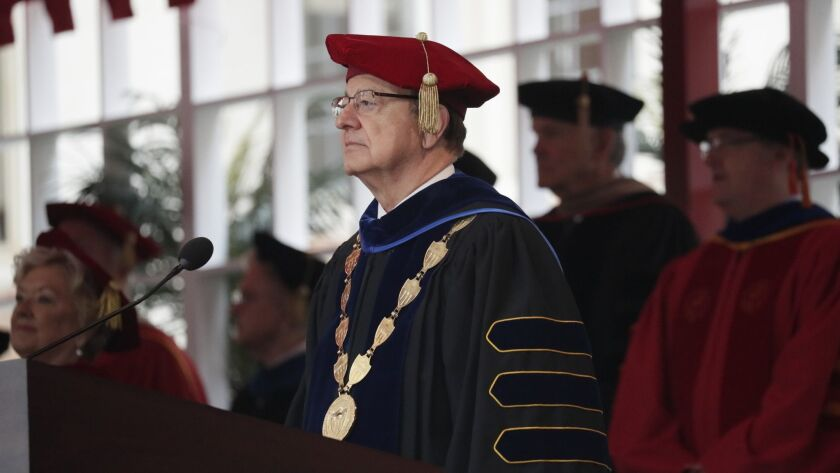 USC President C. L. Max Nikias at a commencement ceremony May 11.