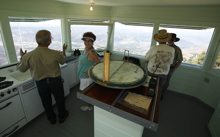 Inside the Boucher Hill lookout tower Saturday morning.