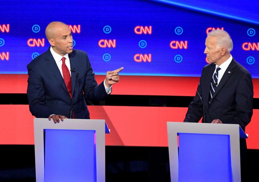 Sen. Cory Booker and former Vice President Joe Biden