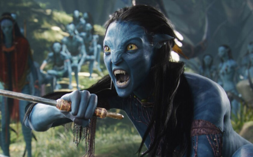"Neytiri (Zoe Saldana in a motion-capture performance) in the movie ""Avatar."""