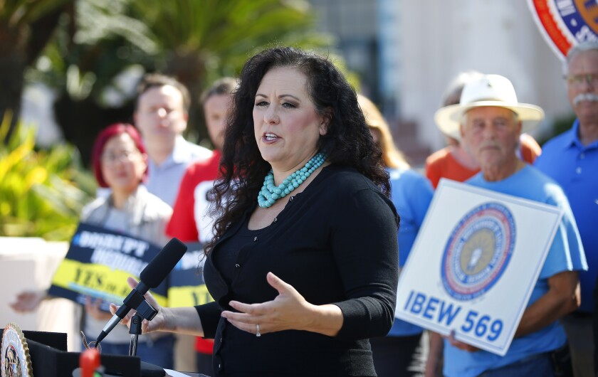 Assemblywoman Lorena Gonzalez speaks at a news conference in San Diego in August of last year in support of Assembly Bill 5.