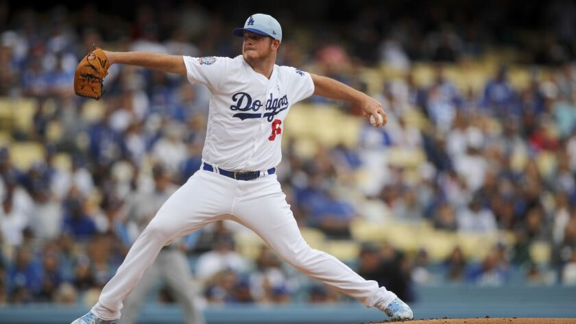 LOS ANGELES, CALIF. -- SUNDAY, JUNE 17, 2018: Dodgers pitcher Caleb Ferguson delivers a pitch in th