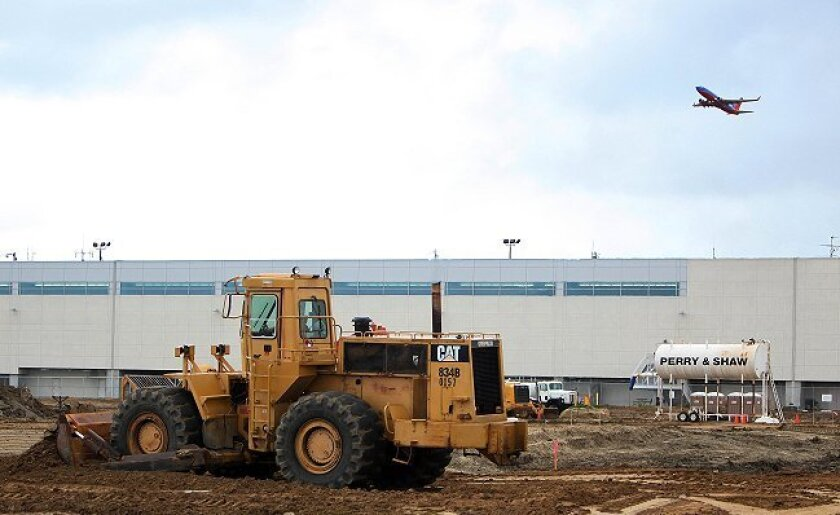Construction is going on at the west end of Terminal 2 at Lindbergh Field. The major expansion is due to be completed in 2013.