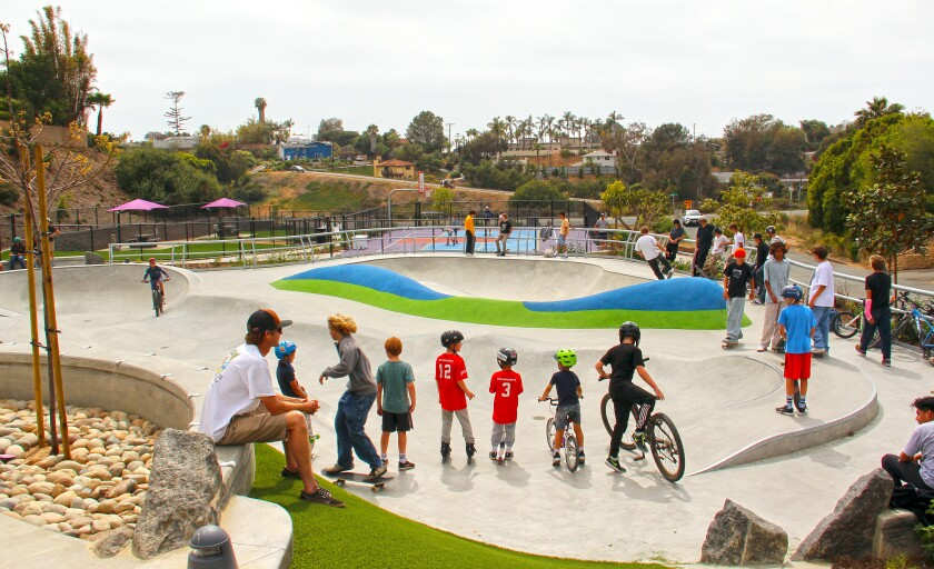 The new Olympus Park features a pump track for bikes, skateboards and scooters.