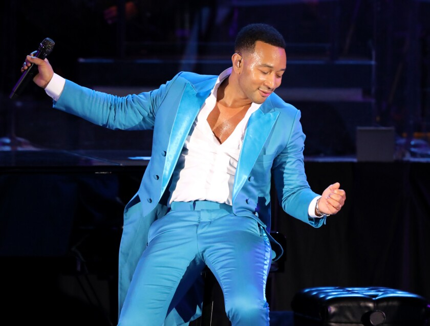 John Legend performs during the opening night at the Hollywood Bowl on Saturday.
