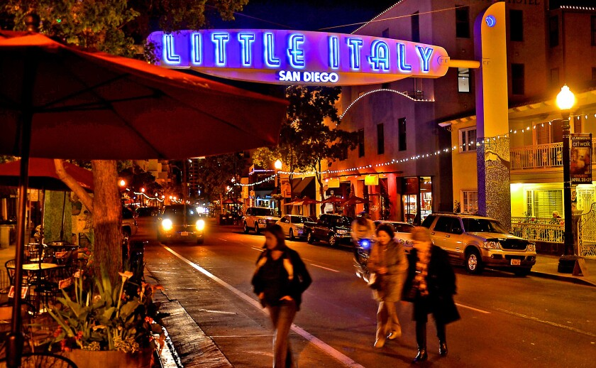 India Street in San Diego's Little Italy is lined with restaurants and shops. Increasingly, the neighborhood is popular among foodies who are drawn not just to the classic Italian eateries but also to the fare turned out by a raft of inventive chefs.