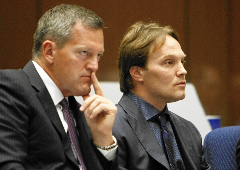 UCLA chemistry professor Patrick Harran, right, sits with his attorney Thomas O'Brien in L.A. Superior Court in June, when he struck a deal with prosecutors that essentially freed him from criminal liability in the death of a staff researcher.