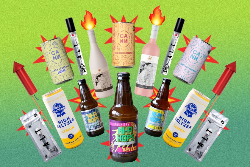 An illustration of beverages of various shapes and sizes overlaid with fireworks.