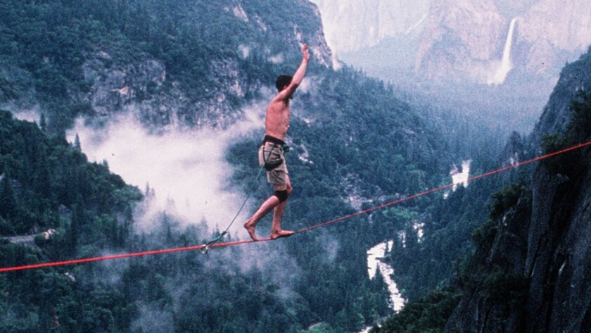 Dean Potter walks on a slackline in Yosemite in 1998.