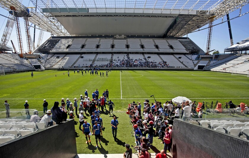 A view of the first official practice by the Corinthians team at the Arena de São Paulo (Itaquerao) stadium on March 15, 2014. The arena will host the opening match of the Brazil 2014 FIFA World Cup between Brazil and Croatia on June 12.