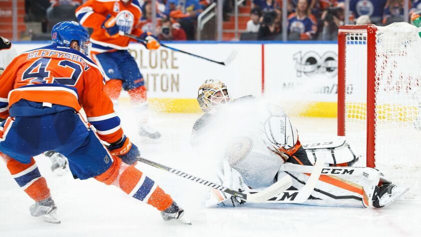 EDMONTON, AB - MAY 7: Anton Slepyshev #42 of the Edmonton Oilers scores a goal on goalie Jonathan B