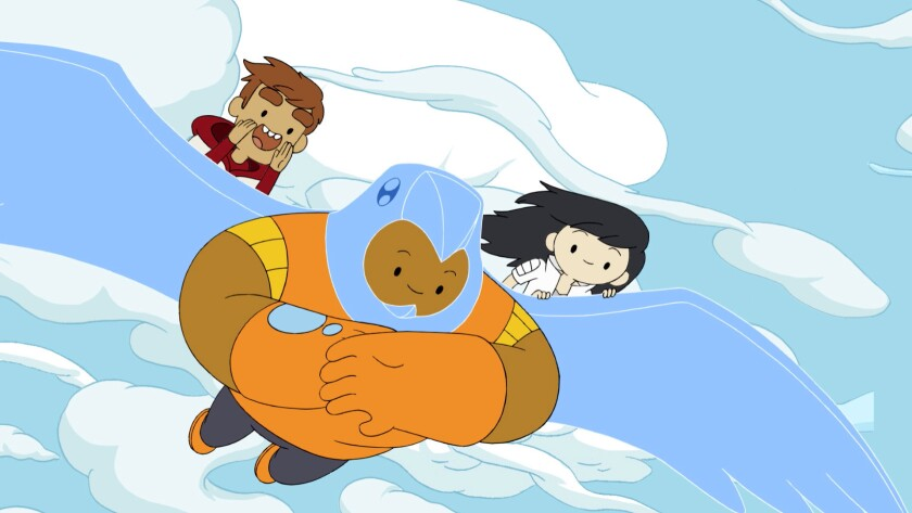 """Bravest Warriors. Danny, Wallow and Beth in a scene from the Web-based """"Bravest Warriors,"""" beginnin"""