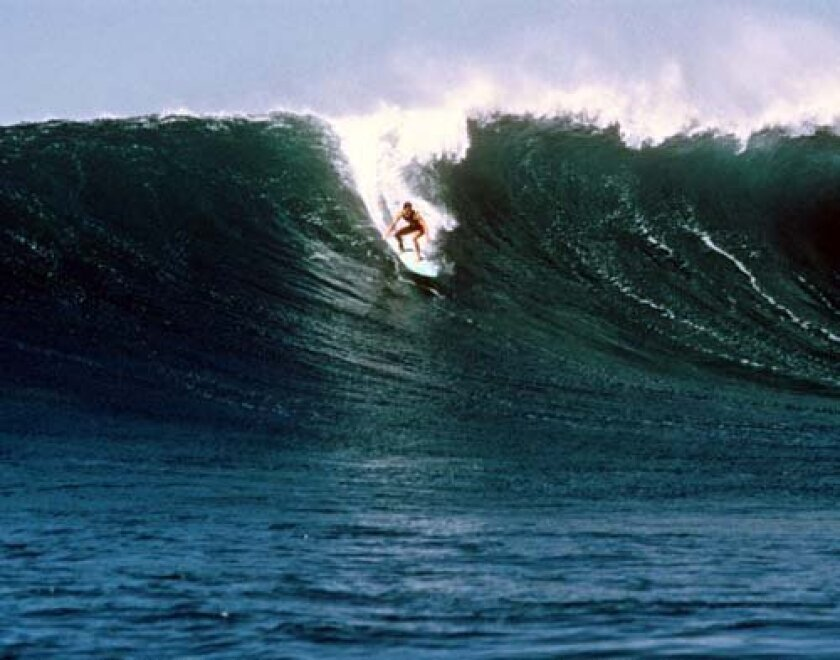 Beacham drops into a big one at Sunset Beach, Hawaii.  Courtesy: Debbie Beacham