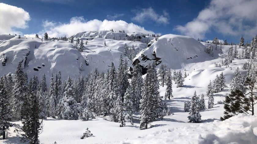 This photo released by the California Highway Patrol shows snow-covered mountains and trees in Truckee, Calif.